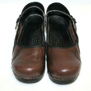 Dansko brown leather mary jane clogs Marcella
